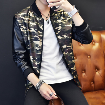 Korean-style men Slim fit men's outerwear New style jacket (Camouflage green) (Camouflage green)