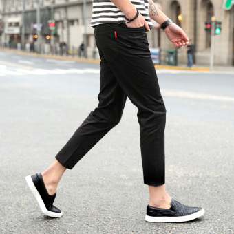 Korean-style men Slim fit skinny ankle-length pants thin casual pants (Black)