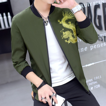 Korean-style men Slim fit student gown spring and autumn jacket (Long dark green color)