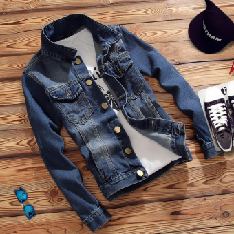 Korean-style men Slim fit young thin section jacket casual denim jacket (Ty201-1 blue)