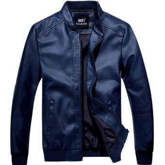 Korean-style men spring thin section short paragraph leather jacket Leather (Dark blue color)
