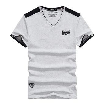 Korean-style men Teenager men's summer short sleeved t-shirt (9030 gray)