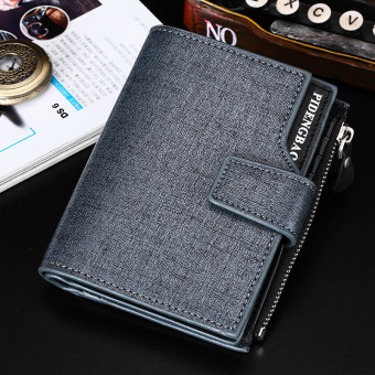 Korean-style men verticle youth cool wallet three fold wallet (Blue)