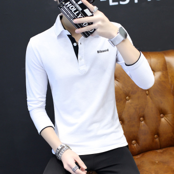 Korean-style men's long-sleeved New style polo shirt T-shirt (White)