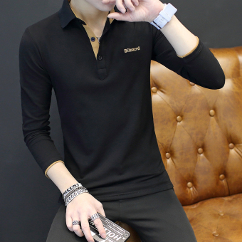 Korean-style men's long-sleeved shirt collar T-shirt (Black)