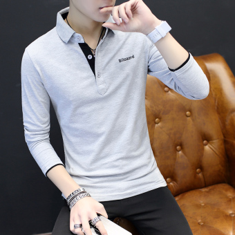 Korean-style men's long-sleeved shirt collar T-shirt (Gray)
