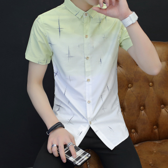 Korean-style men's short sleeve Slim fit shirt New style shirt (833 Huang Bai)
