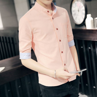 Korean-style men's Slim fit thin sleeve shirt short sleeved shirt (Pink)