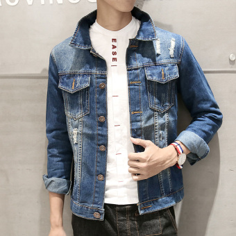 Korean-style men's Teenager Slim fit jacket denim jacket (F25 models jacket + to send long-sleeved t-shirt)