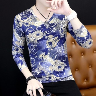Korean-style men's v-neck printed base shirt cool long-sleeved t-shirt (Rose Gold)