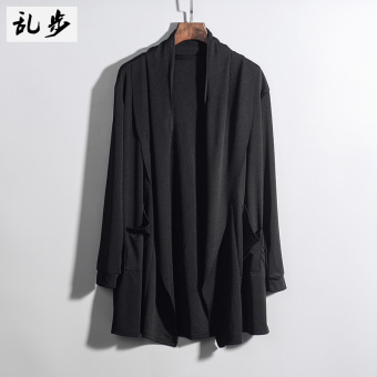 Korean-style men's V-neck thin coat air-conditioned shirt autumn sweater (606 solid color jacket black)