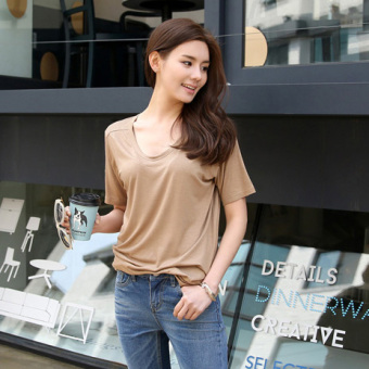 Korean-style mercerized cotton solid color stretch loose short sleeved t-shirt (Light casual) (Light casual)