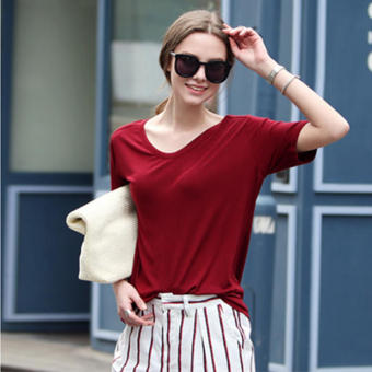 Korean-style mercerized cotton solid color stretch loose short sleeved t-shirt (Wine red color) (Wine red color)