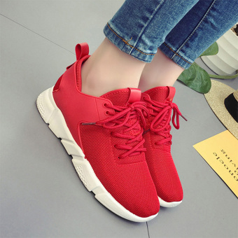 Korean-style mesh breathable running sports shoes (Female Models + Red)