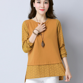 Korean-style mid-length long-sleeved women's LOOESN Top (Camel)