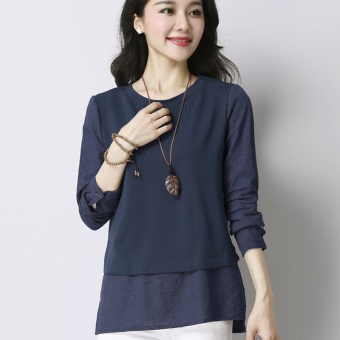 Korean-style mid-length long-sleeved women's LOOESN Top (Navy)