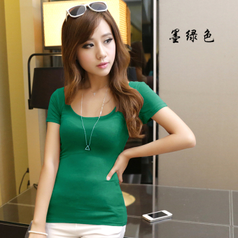 Korean-style modal black Slim fit big round neck Top T-shirt (Dark green color)