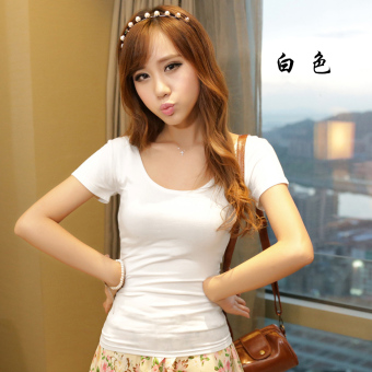 Korean-style modal black Slim fit big round neck Top T-shirt (White)