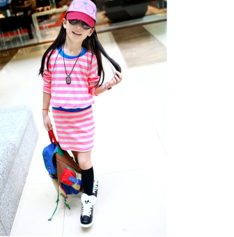 Korean-style new children short sleeved t-shirt skirt ([Rose striped] dress) ([Rose striped] dress)