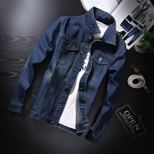 Korean-style New style autumn men's denim Slim fit jacket (Dark blue color)