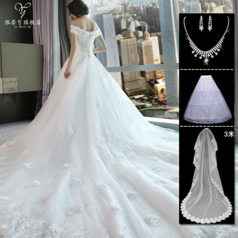 Korean style New style bride wedding veil dress (White CARE tail section 1.2 M)