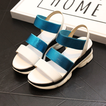 Korean-style New style flat sandals (Blue)