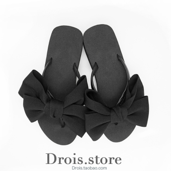 Korean-style New style flat thick bottomed sandals slippers (Black) (Black)