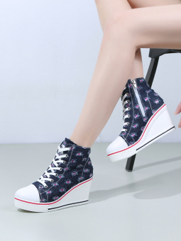 Korean-style New Style High-heeled 8cm slope with canvas shoes (Sapphire blue color)