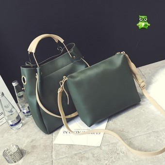 Korean-style New Style Large Capacity shoulder bag handbag large bag (Green)