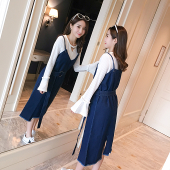 Korean-style New style long section denim Dungaree dress (Blue denim skirt)