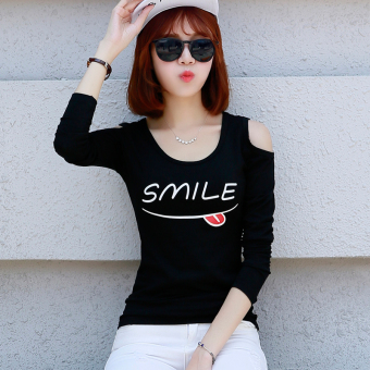 Korean-style New style off-the-shoulder long-sleeved t-shirt (Black smile)