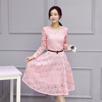 Korean-style New style Slim fit base dress (Pink)