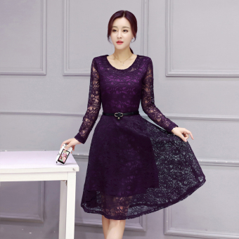 Korean-style New style Slim fit base dress (Purple)