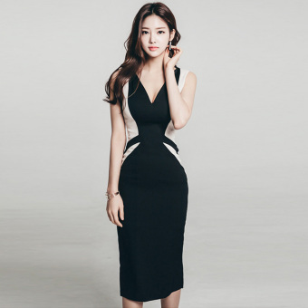 Korean-style New style Slim fit Spell color bottoming dress