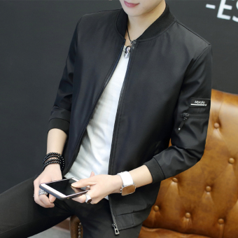 Korean-style New style Slim fit spring jacket men's jacket (Black)