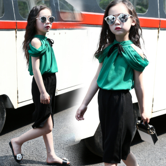 Korean-style New style small girl's mesh dress Shishang T-shirt (Green)
