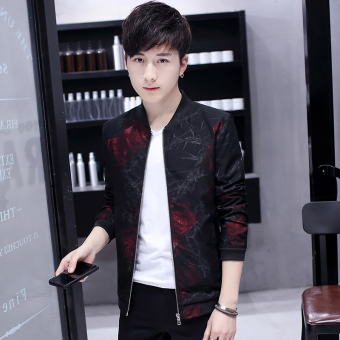 Korean-style New style Spring and Autumn student men's jacket versatile jacket (609 red rose)