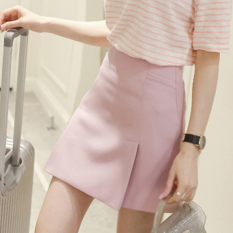 Korean-style New style women high-waisted a word skirt pink skirt (Pink)