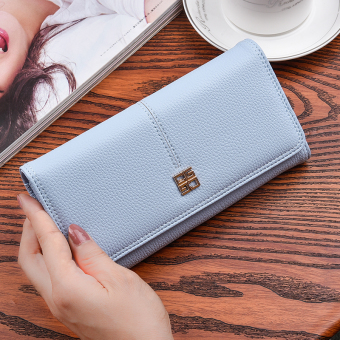 Korean-style New style women long clutch bag women's wallet (Light blue (to send gift box packaging))
