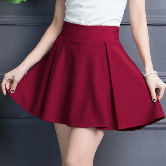 Korean-style New style word base skirt high-waisted skirt (Wine red color) (Wine red color)