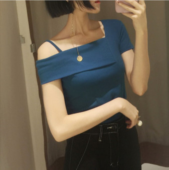 Korean-style off-the-shoulder word collar sling female Top Slim fit short-sleeved t-shirt (Blue)