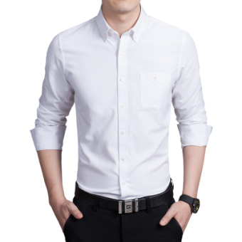 Korean-style Oxford spinning Slim fit business Shirt shirt (White/long-sleeved) (White/long-sleeved)