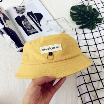 Korean-style patch lettered bucket hat (Ginger yellow)
