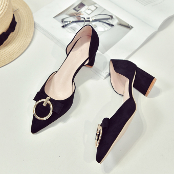 Korean-style pink pointed bridesmaid shoes high-heeled shoes (Classic black)