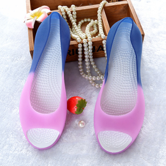 Korean-style plastic female New style gel shoes sandals (Gradient pink and purple color)