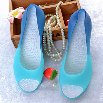 Korean-style plastic female New style gel shoes sandals (Gradient sky blue color)