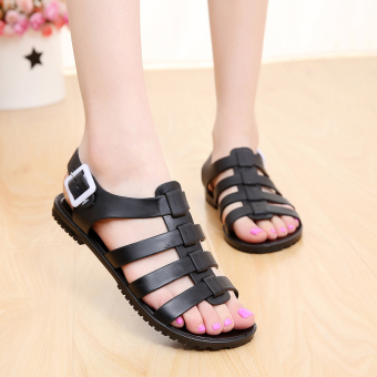 Korean-style plastic summer jelly gladiator sandals flat women's sandals (Black)