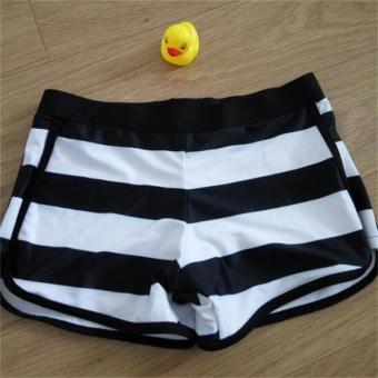 Korean-style Plus-sized striped beach pants boxer swimming trunks