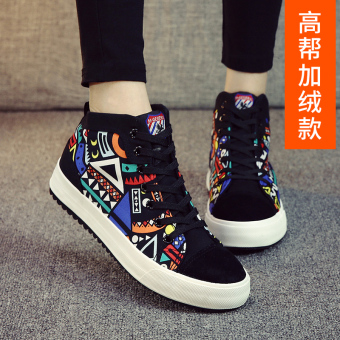 Korean-style Plus velvet female students warm cotton-padded shoes cloth shoes (Black Flower [high-top Plus velvet])