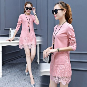Korean-style Plus velvet on the female warm bottoming shirt loose long-sleeved t-shirt (Pink [006 spring thin])
